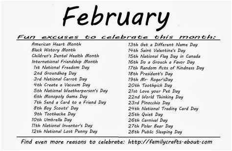 Calendar Of Special Days Kindergarten And Mooneyisms Special Days February