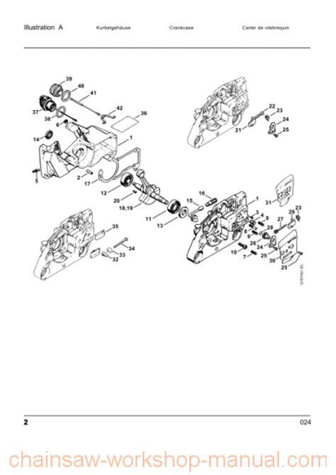 stihl 024 av parts diagram stihl 024 parts list manual chainsaw workshop manuals