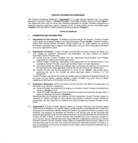 Distributor Agreement Letter Format 10 Distribution Agreement Templates Free Sle Exle Format Free Premium