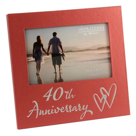 40th ruby wedding anniversary gifts wooden photo frame