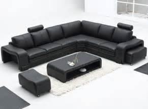 L Leather Sofa Remarkable Modern Bonded Leather Sectional Sofa In Black With L Shape Design And Adjustable