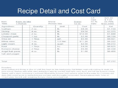 standard recipe card template futura food production i