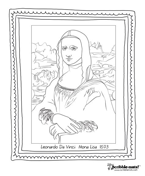 Scribble Blog Inspiring Creativity 187 Mona Lisa Da Vinci Printable Coloring