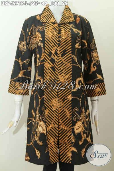 Dress Tunik Wayang batik dress halus model seset bagian kerah busana batik