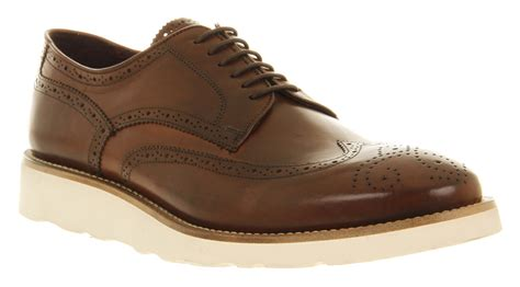 mens poste sand wedge brogue shoe choc leather formal