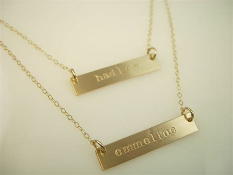 how to make custom gold jewelry gold bar necklace layered necklace by jamesmichellejewelry