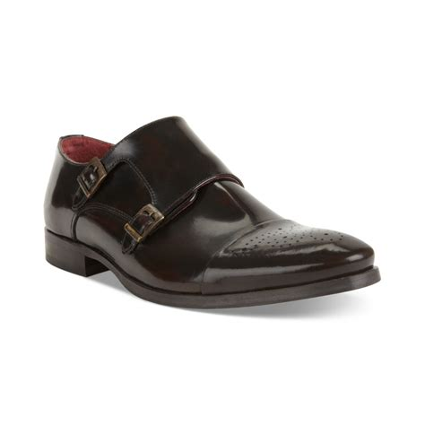 kenneth cole shoes for kenneth cole dotted line leather monk shoes in brown