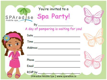 spa invitations templates free free printable spa invitation by sparadise mobile