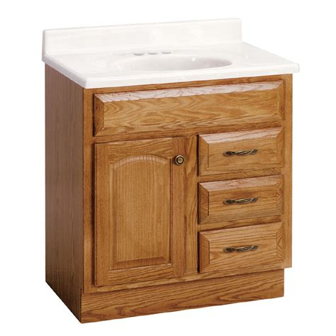 oak bathroom vanities shop project source 30 quot oak elegance bath vanity at lowes com