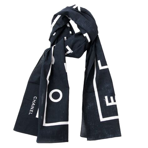 Channel Scarf chanel black letter scarf at 1stdibs