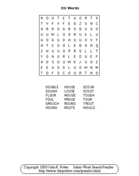 Search Ou S Word Search Puzzles Ou Words
