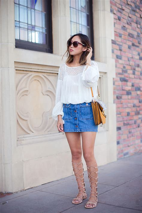 style denim skirt outfits stylewile