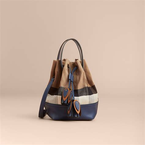 Tas Burberry Ribbon Set 2 In 1 Gold Series Jj 4725 1 small canvas check and leather bag in brilliant navy burberry united states