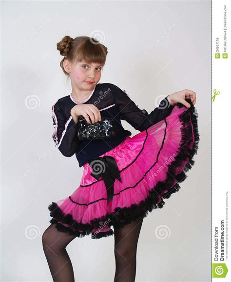 Stylish Little Girl In A Magnificent Pink Skirt Stock