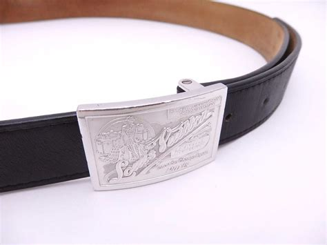 Sabuk Louis Vuitton Lv Belt Black Buckle Silver Mirror Quality auth louis vuitton buckle belt size 90 36 black leather silver used e26780 ebay