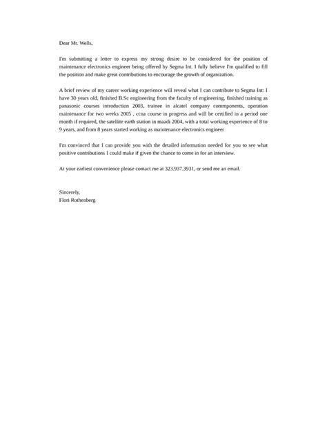 cover letter for electronics engineer maintenance electronics engineer cover letter sles and