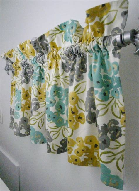 gray yellow teal curtains turquoise grey yellow gold valance for the kitchen