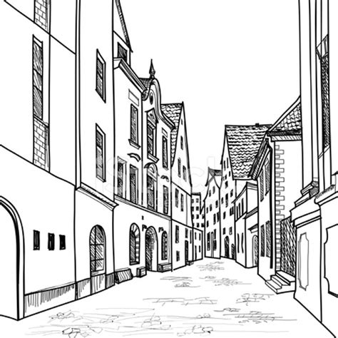 street sketchbook street graphics old european houses and hand drawing sketch stock vector freeimages com