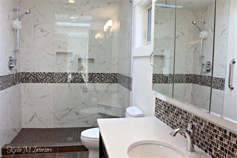 Quartz Bathroom Surrounds Walk In Shower In Bathroom With Pink And Brown Mosaic Tile