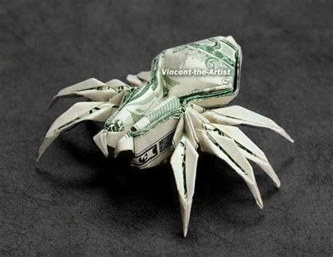spider money origami animal insect made of real dollar bill