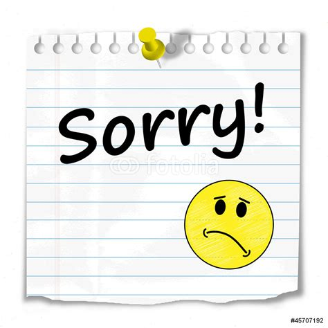 Letter Wall Stickers sorry message postit apologies apologise smiley wall