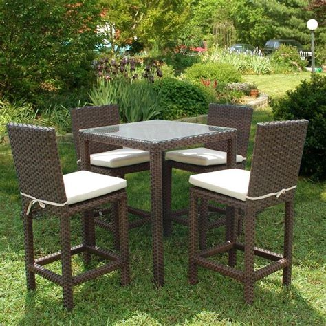 Atlantic Contemporary Lifestyle Monza Square 5 Piece Patio High Patio Dining Set