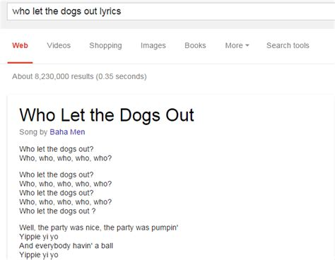who let the dogs out lyrics just made it much easier to find song lyrics except the ones doesn t