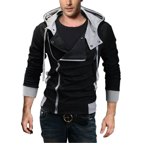 Hoodie Zipper Badboy grin slim fit shawl collar knit sweatshirt cardigan