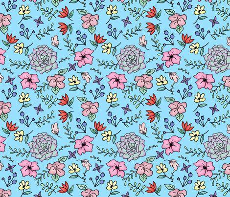 doodle blue floral doodle blue medium scale fabric sylviaoh