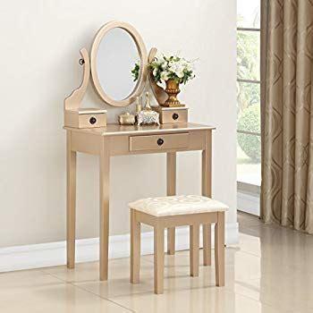 Roundhill Furniture Moniya White Wood Vanity Table And Stool Set by Roundhill Furniture 3415gl Moniys Wood Moniya