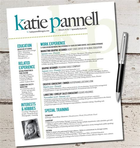 the katie lyn signature resume template design by