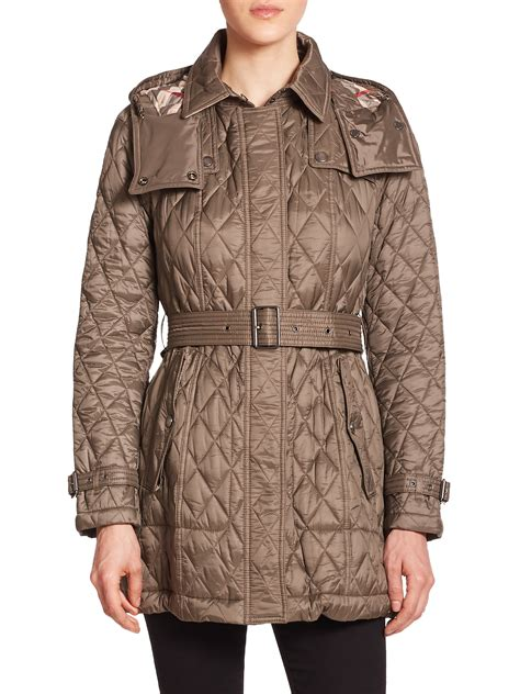 burberry brit finsbridge quilted coat in gray lyst
