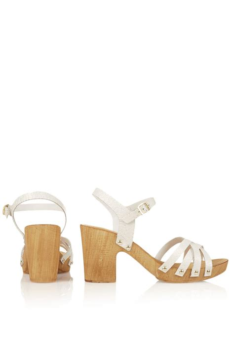 chunky wooden sandals topshop nancy chunky wooden sandals in white lyst