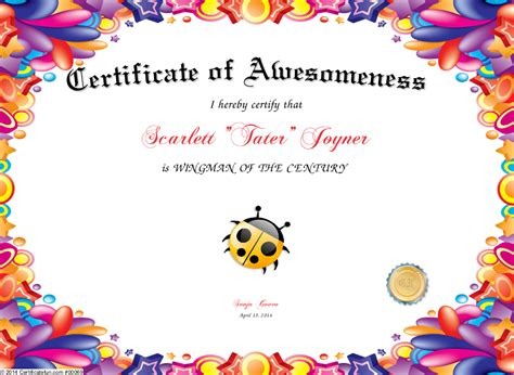 Similiar Certificate Of Awesomeness Keywords