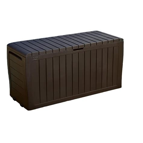 keter marvel plus 71 gal resin deck box in brown 230623