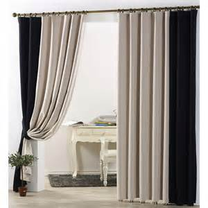Black Curtains Bedroom Simple Casual Blackout Curtain In Beige And Black Color For Bedroom Or Living Room