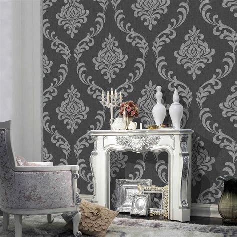 black damask wallpaper home decor black and silver wallpaper wallpapersafari