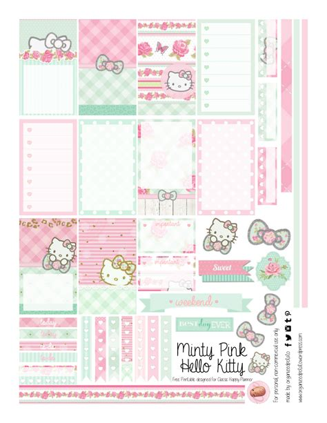 Free Printable Hello Kitty Planner | free planner printable mint green pink hello kitty