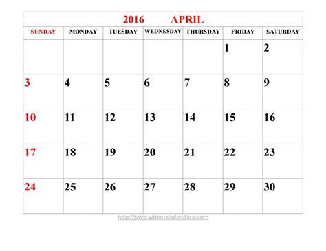 calendar layout april 2016 bold print april calendar free calendar template