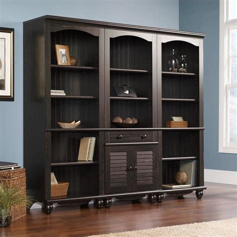 Sauder Harbor View Library 5 Drawer Antiqued Paint Finish Sauder Harbor View Bookcase