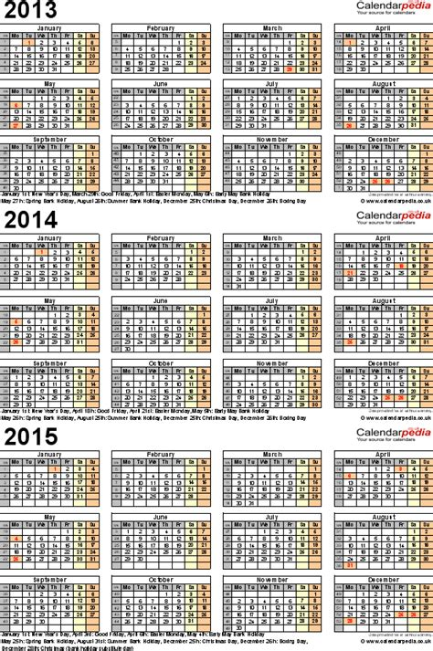 printable calendar 2014 and 2015 nz 8 best images of 3 year calendar 2013 2014 2015 printable
