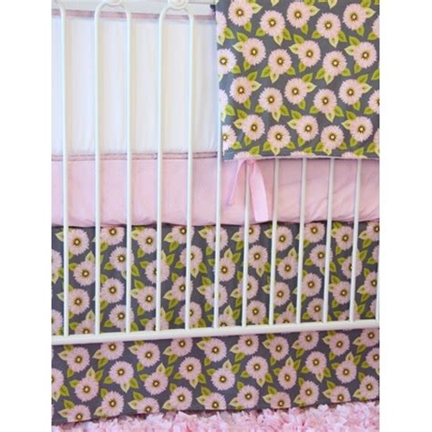 Dahlia Nursery Bedding Set Pink Gray Dahlia Crib Bedding Set By Caden