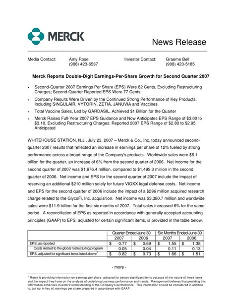 merck licensing press release merck 2q07 earnings release