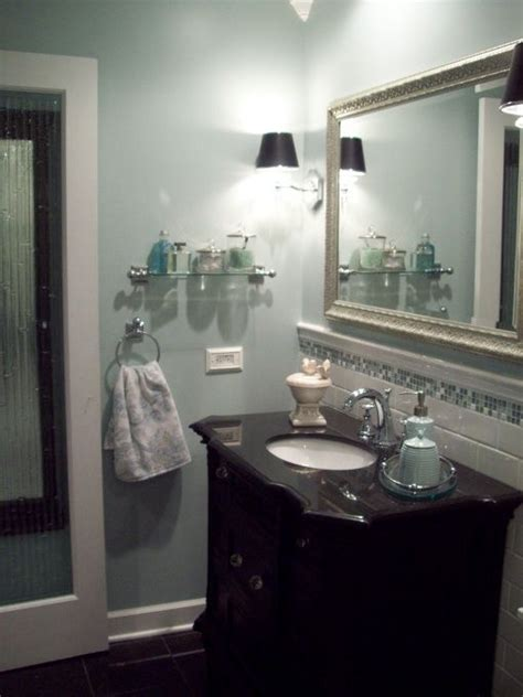black and white bathroom accent color spa blue bathroom makeover in black white blue and