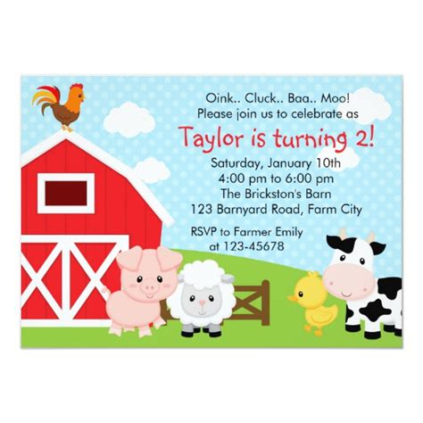 Farm Birthday Invitation Boy Blue Barnyard Zazzle Com Farm Invitation Template
