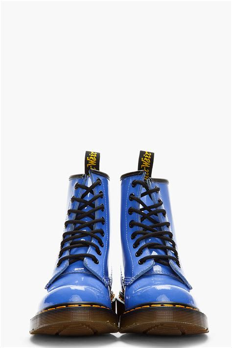 Dr Blue Dr Martens Blue Patent Leather 1460 W 8 Eye Boots Ceecp