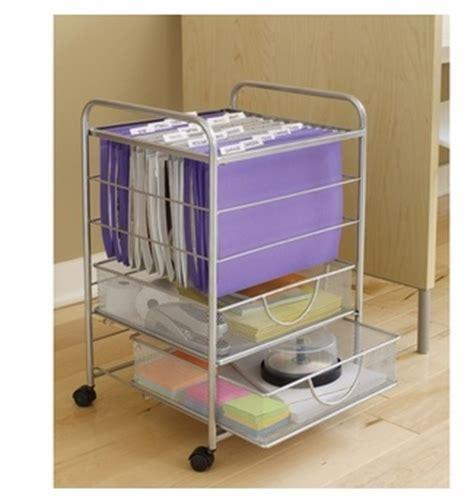 Rolling File Cart With Drawers by Silver Rolling Mesh File Cart With 2 Drawers Great For An