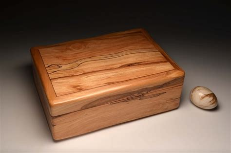 Handmade Jewellery Box - a handmade jewellery box from spalted beech no 0052