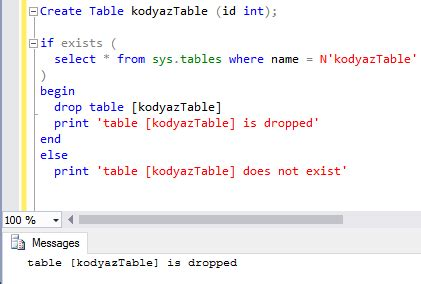 how to use sql drop table if table exists in sql database