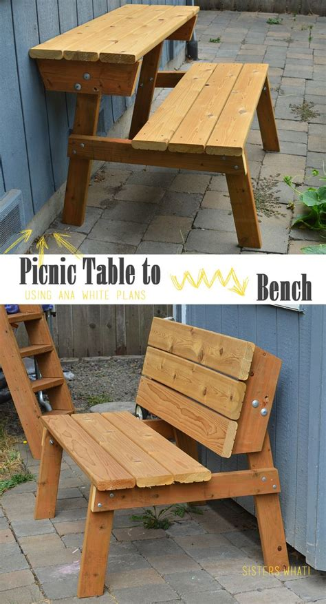 bench becomes picnic table best 25 picnic tables ideas on rustic